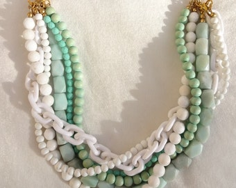 Mint Turquoise Statement Necklace chunky necklace statement jewelry bridal statement chunky beads GIRL FROM IPANEMA