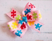 Autism Hair Bow - Pink Autism Awareness Bow - Puzzle Piece Hair Bow
