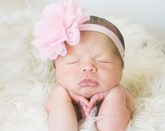 Newborn headband, Pink headband, Peach, Baby headband, Infant Headbands - Baby Girl Headbands - Baby Hair Accessories - Newborn Headbands