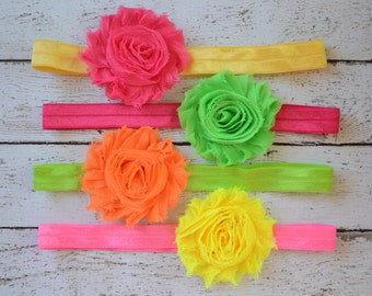Baby headbands, shabby chic headband, colorful headband set, newborn headband, infant headband, baby girl accessories