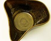 Wood fired flare bowl in Frog Skin glaze...
