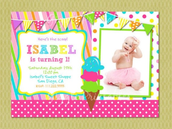 Ice Cream Birthday Party Invitation FREE thank you card