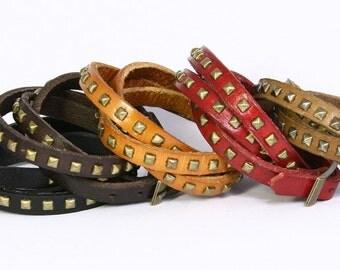 Leather Wrap Bracelet with Pyramid Studs, Bronze Color Studs on Leather Bracelet. Brown Leather, Tan Leather, Studded Leather Bracelet B032