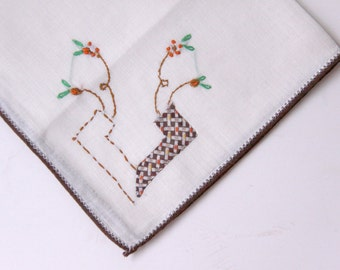 Vintage Hand Embroidered Handkerchiefs with Brown and Beige Fabric Applique Insert - Unusual