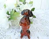Vintage Beswick Dachshund Dog Figurine - Black and Tan Glossy Begging Dog
