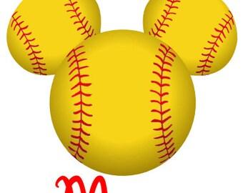 Disney TShirt Iron on Softball Mickey Personalized Iron on Transfer Decal(iron on transfer, not digital download)