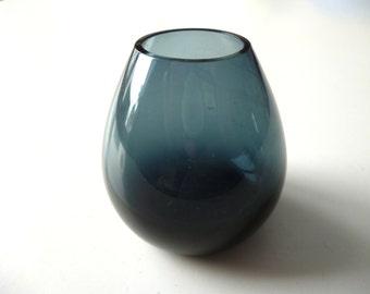 Fat bottom miniature glass vase - mid-Century Danish smokey blue