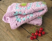 Crochet afghan granny square baby blanket - pastel colorful, bright and soft