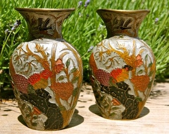 Decorated brass vases
