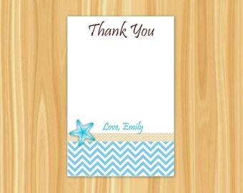 Starfish Thank You Card | Beach Thank You Card | Bridal Shower Thank You Card | Nautical Thank You Card