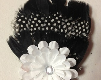 Black & White Flower Feather Hair Clip, Feather Fascinator, Feather Hairpiece