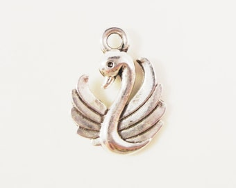 Silver Swan Charms 17x12mm Antique Silver Tone Metal Bird Double Sided Charm Pendant Jewelry Findings 10pcs