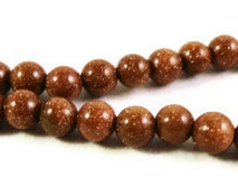 Brown Goldstone Beads 5mm-6mm Round Sparkly Brown Stone Beads (Man-Made) for Jewelry Making on a 7 Inch Strand with 32 Beads