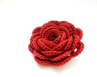Crochet flower pin, orange brick brooch, crochet rose, woman's cloth accessory