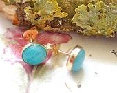 Aqua, mint, Amazonite 14k gold stud earrings 8mm wide gemstone cabs natural gemstone