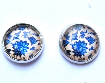blue and white floral studs earrings silver bronze