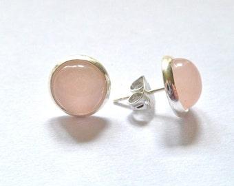 Rose quartz silver stud earrings gemstone small 8mm