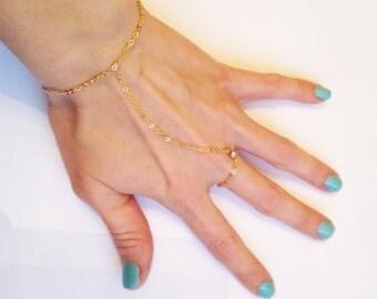 16K Gold Plated Slave Bracelet with Swarovski Rhinestone Accent