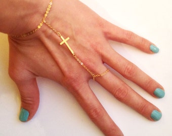 16K Gold Plated Slave Bracelet with Cross