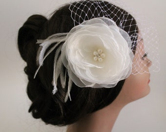 Birdcage Bandeau Veil, Ivory Flower Birdcage Veil and Fascinator, Wedding Head Piece, Wedding Accessories, Ostrich Feathers and Pearls