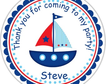Sail boat - Personalized Stickers, Party Favor Tags, Thank You Tags, Gift Tags, Address labels, Birthday, Baby Shower