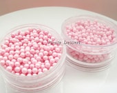 Edible SUGAR  PEARLS - 4mm DRAGEES - Sugar Sprinkles -  Edible Cake and Cupcake Decorations (Pink Pearl) (1.5oz  Plastic container)