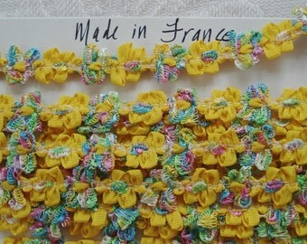 1y Vintage French Deep Yellow & Colorful Rococo Rosette Flower Ribbon Hat Doll Trim Supply Scrapbook Paper Crafting Embellishment France