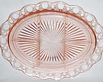 Hocking Depression Glass Pink OLD COLONY Lace Edge 5 Part Oval Serving Platter