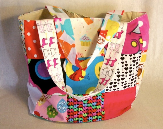 Large, colorful Market /Shopping Tote, Beach / Nappy Bay