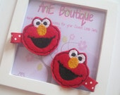 Adorable Embroidered Felt Hair Clip with No Slip Grip - Elmo