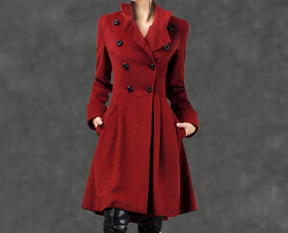 red coat winter coats for women 100% cashmere  jacket