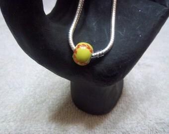 Softball Large Hole Euro Bead for Charm Bracelets