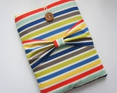 Three Style Bow iPad Sleeve - 3 Spots Movable Bow - Kindle Fire HD - Nook HD Plus - iPad 1-4 Sleeve - Unique Handmade Wood Button