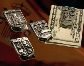 Custom Surname Coat of Arms Sterling Silver money clip - made to order
