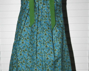 Boutique Pillowcase dress Featuring Leaves on Deep Teal-1 6/7 ready to ship :PC029