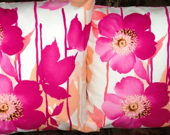 "Pink Floral and Stripe Pillow covers.20""x20"" size.Decorative pillow,Designer pillow,Throw pillow"
