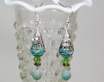 Wire Wrapped Earrings, Filigree Wire Wrapped Earrings. Turquoise Wire Wrapped Earrings