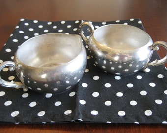 Silver Plate Cream and Sugar Set - Vintage Coffee or Tea Service