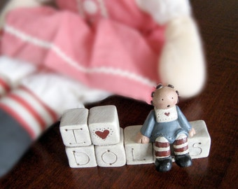 I Love Dolls Figurine - Raggedy Anne Figurine - Gail Laura Collectable - Child's Room Decor - Nursery Decor - Raggedy Anne and Andy
