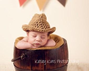 SALE - Crochet PATTERN - 5 - Newborn Cowboy/Cowgirl Hat