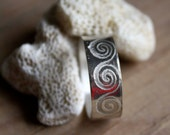 Wave spiral sterling silver ring, unisex, Nayla