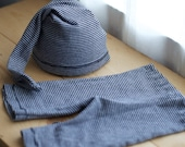 UpCycled Newborn boy 2 piece set Grey and White Stripes hat and pants set (photo prop, handmade)