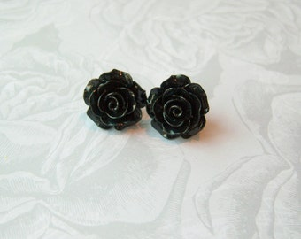 New Large Black Rose Earrings