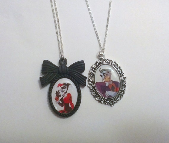 Harley quinn or the joker cameo necklace by bunnysbeadsuk for Harley quinn and joker jewelry