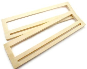 1 pair of wood bag handles 11inchX3 1/4inch (28.5cm x 8.5cm) natural wood for paiting - WH03