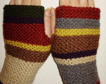 Season 13 Hand Knit Doctor Who Fingerless Gloves Hand Warmers Wristlets Inspired by Season 13 Doctor Who Scarf from Ashlee's Knits