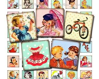 INSTANT DOWNLOAD, Printable Digital Collage Sheet, 1 Inch Squares of Retro Vintage Childhood Images