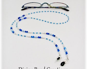 Blue Austrian Crystal Swarovski Pearl Sterling Silver Beaded Eyeglass Chain Leash Holder Lanyard