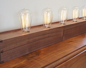"""Edison Lamp with Dovetailed Walnut Box - 36"""" Version - Made to Order"""