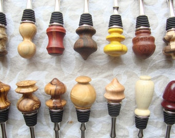 Set of 15 wood bottle stoppers WHOLESALE, whole sale woodwork, bottle toppers, bottle corks, free shipping, stainless steel with rubber seal